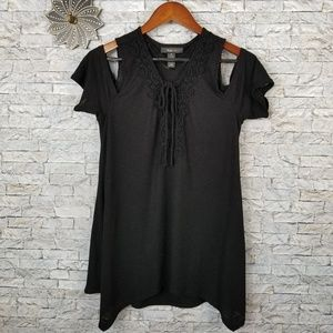Style & Co Black Cold Shoulder Top Size Medium